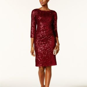 Crimson Sequin Cocktail Dress